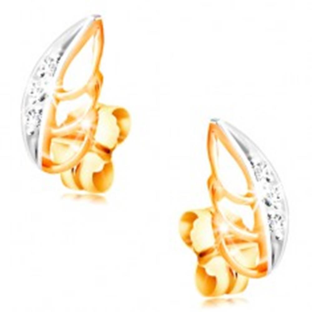 Šperky eshop Náušnice v 14K zlate - dvojfarebný lístok zdobený čírymi zirkónikmi