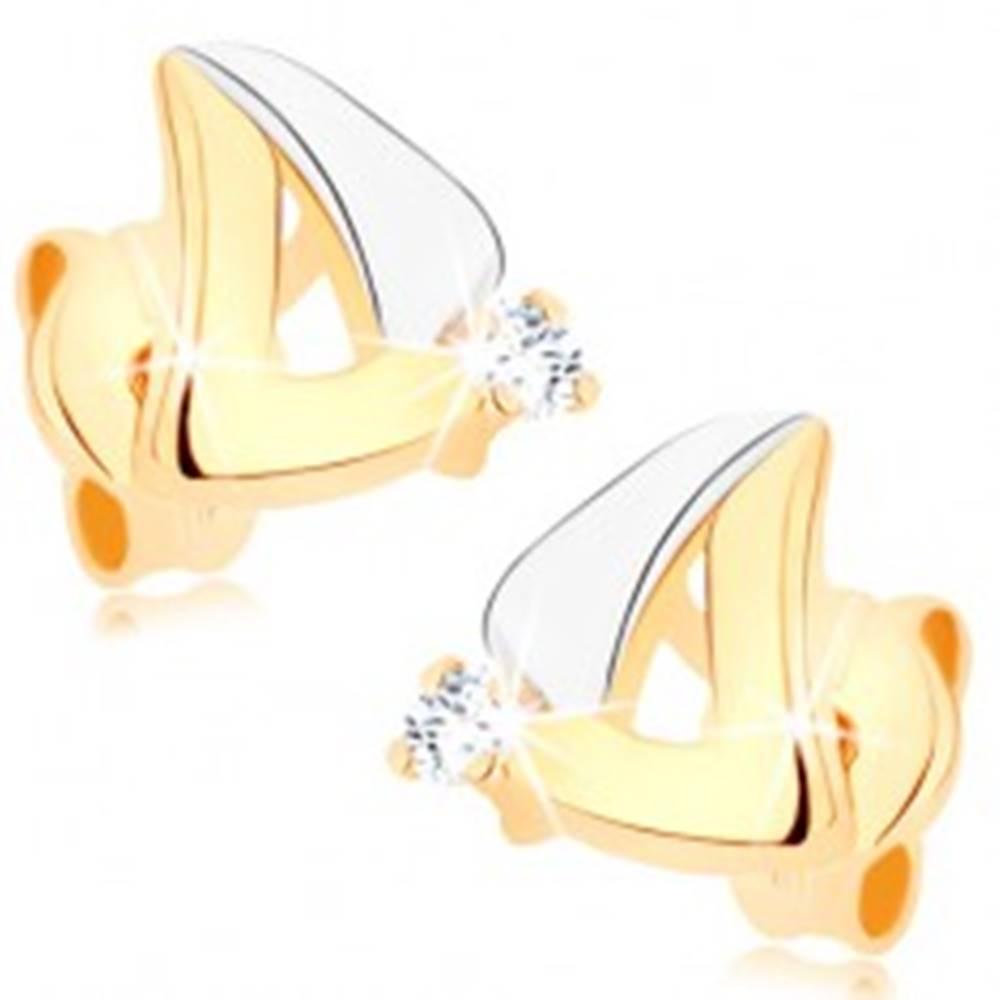 Šperky eshop Náušnice v 9K zlate - dvojfarebný obrys trojuholníka, číry zirkónik