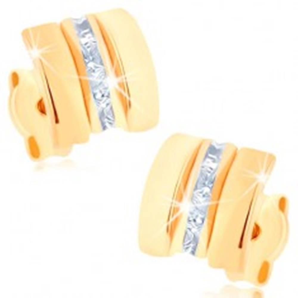Šperky eshop Náušnice v žltom 9K zlate - štvorce s rovnou líniou čírych zirkónov