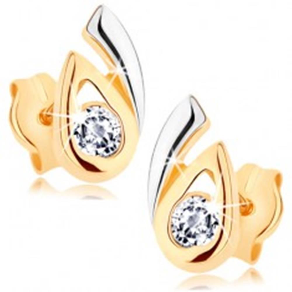 Šperky eshop Náušnice z 9K zlata - rozdvojená dvojfarebná kvapka, číry zirkón