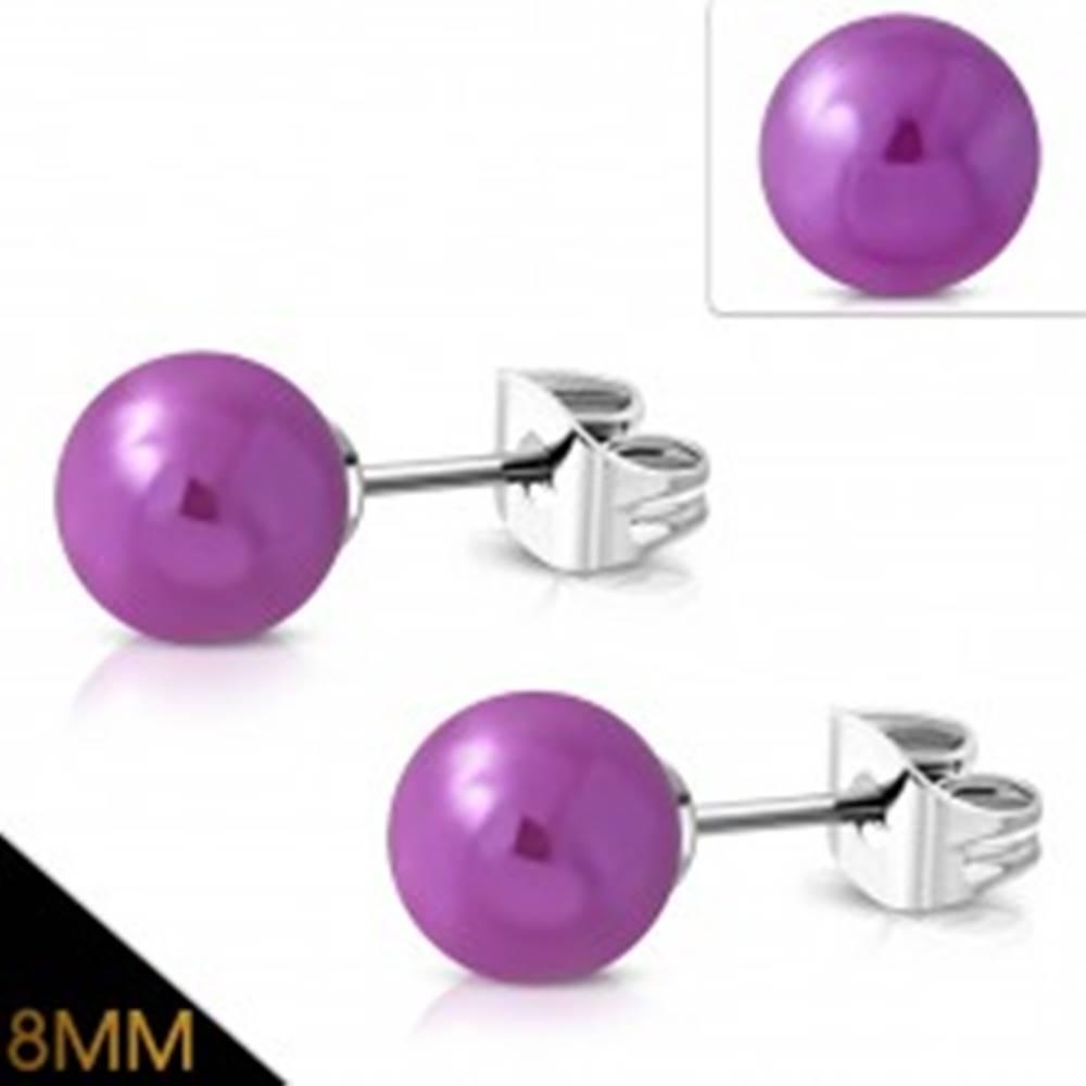 Šperky eshop Náušnice z chirurgickej ocele, fialové guľôčky s metalickým odleskom