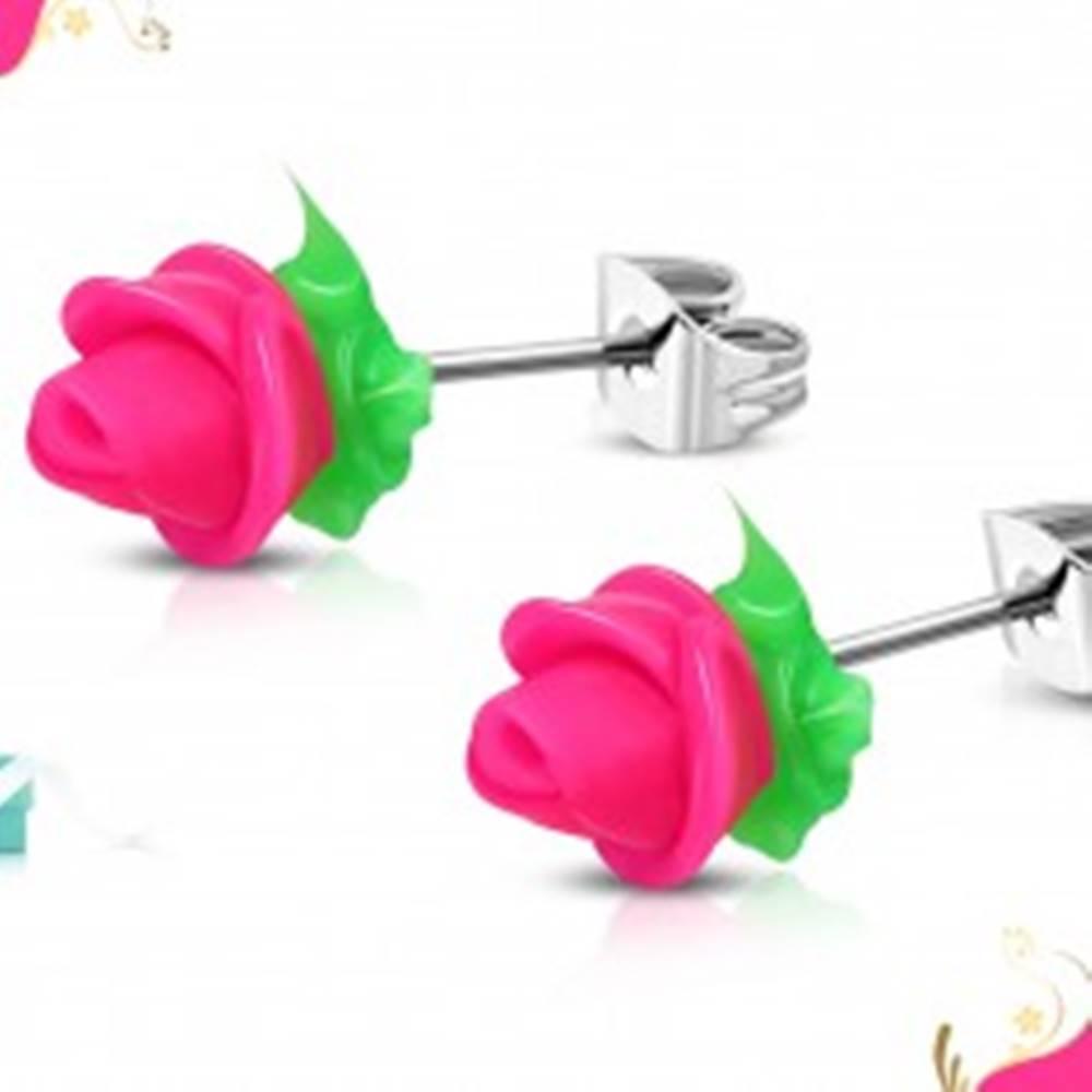 Šperky eshop Náušnice z chirurgickej ocele, neónovo ružová silikónová ružička, zelené lístky