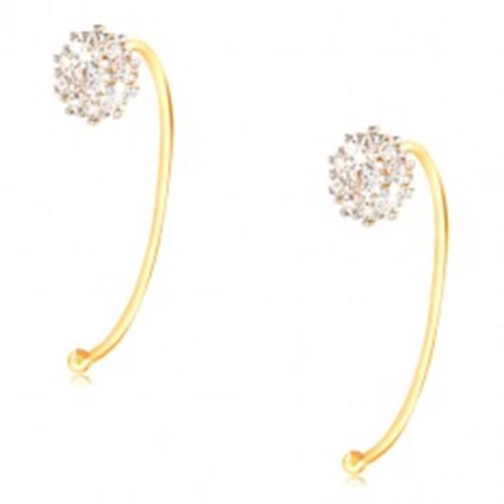 Šperky eshop Náušnice zo 14K zlata - kvet z čírych zirkónov uchytený na úzkom oblúku