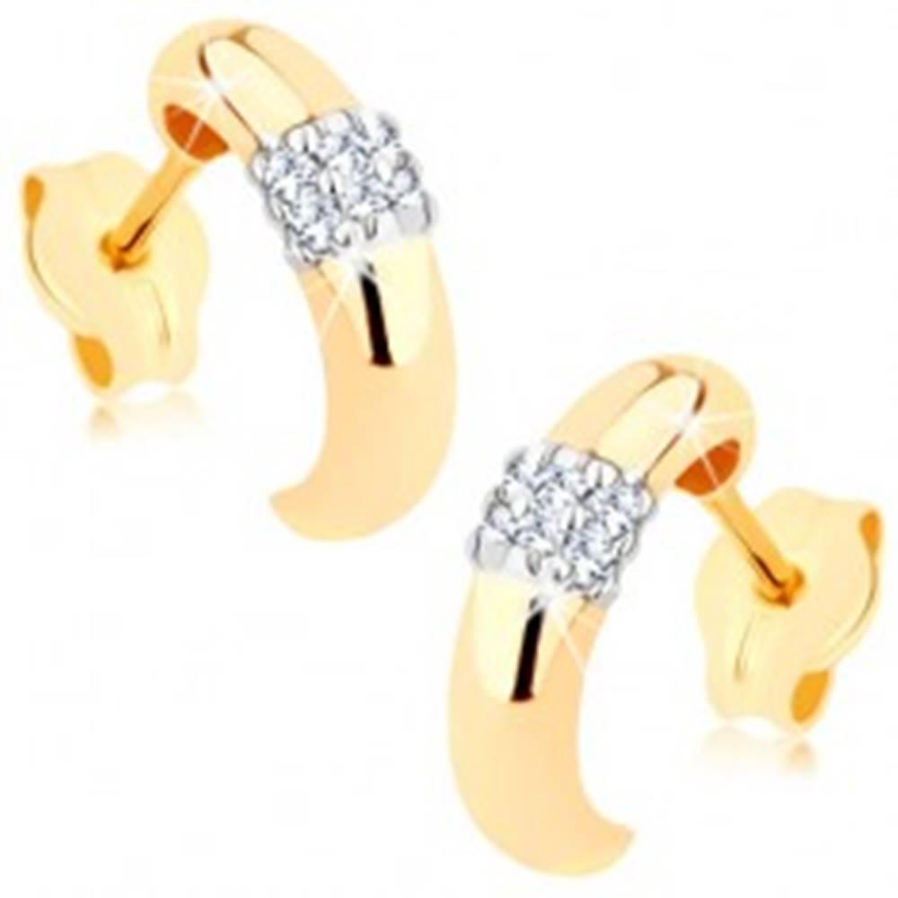 Šperky eshop Náušnice zo zlata 375 - polkruh, oblý hladký povrch, štvorček z čírych zirkónov