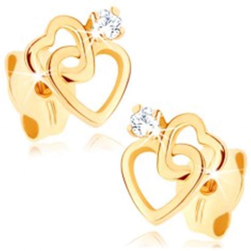 Šperky eshop Náušnice zo žltého 9K zlata - dve tenké srdcové kontúry, zirkónik čírej farby