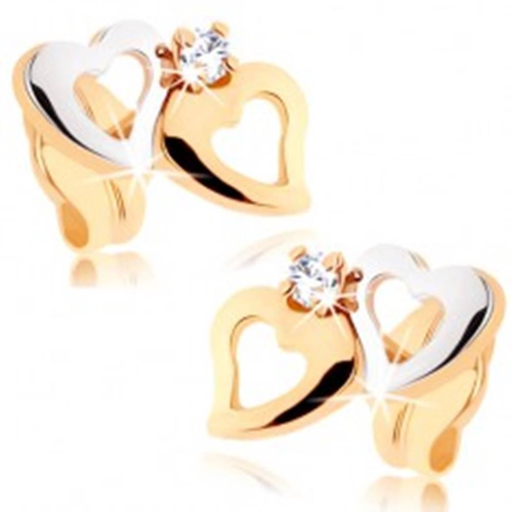 Šperky eshop Náušnice zo žltého 9K zlata - dvojfarebné kontúry srdiečok, zirkón čírej farby