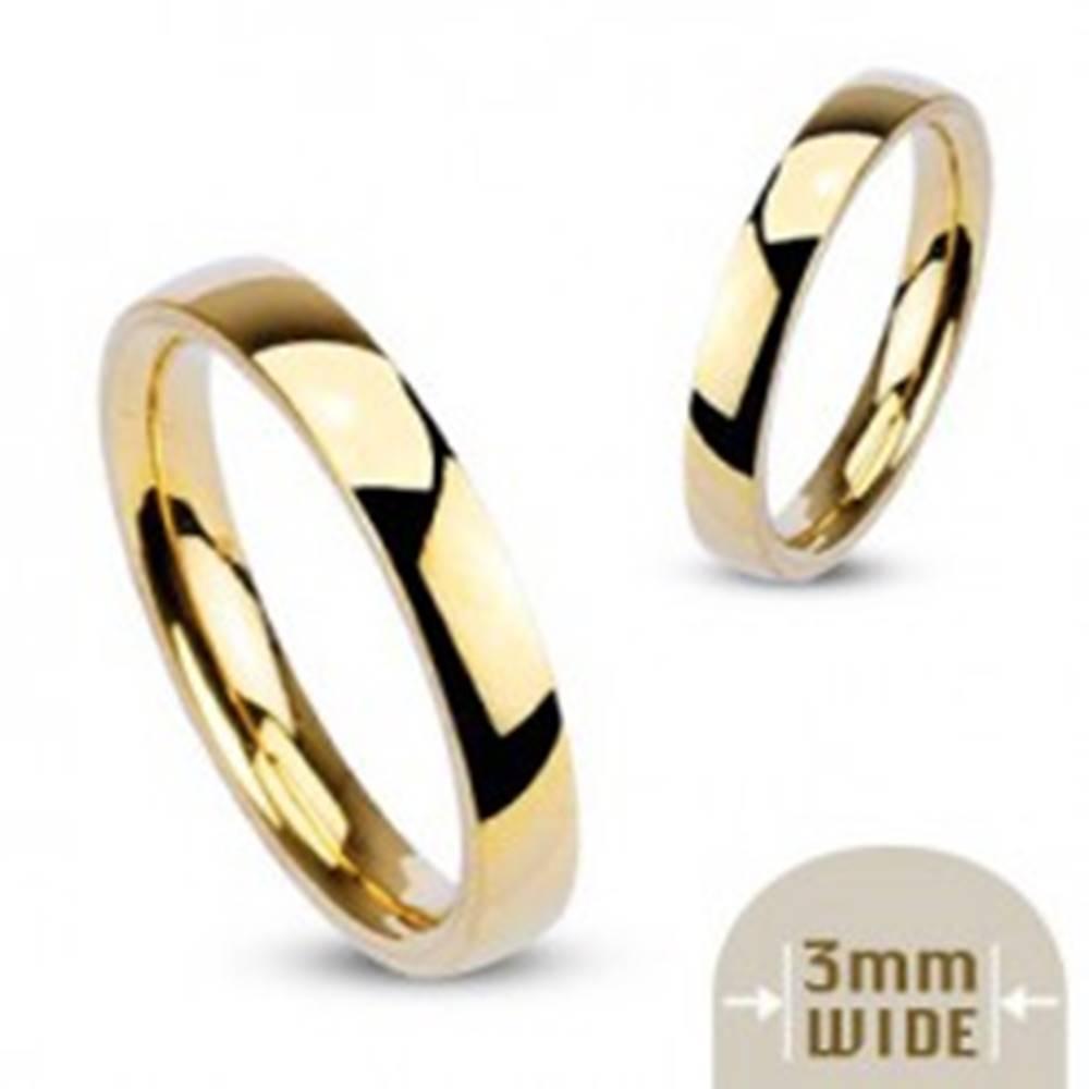 Šperky eshop Oceľová obrúčka zlatej farby so zrkadlovým leskom - 3 mm - Veľkosť: 48 mm