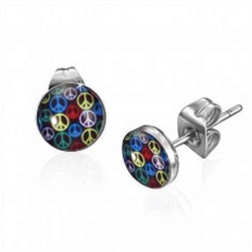 Šperky eshop Oceľové náušnice - rôznofarebné symboly Mier