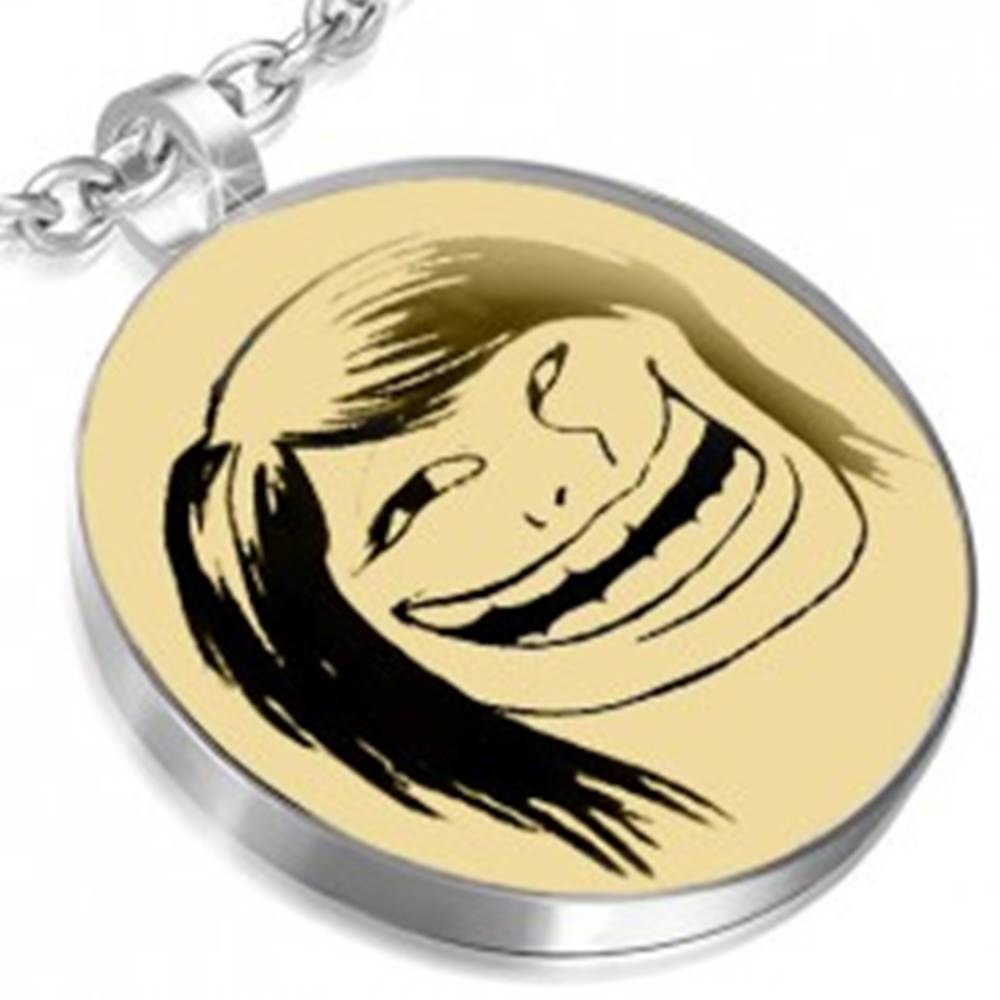 Šperky eshop Oceľový prívesok - motív zábavná tvár MEME FACE