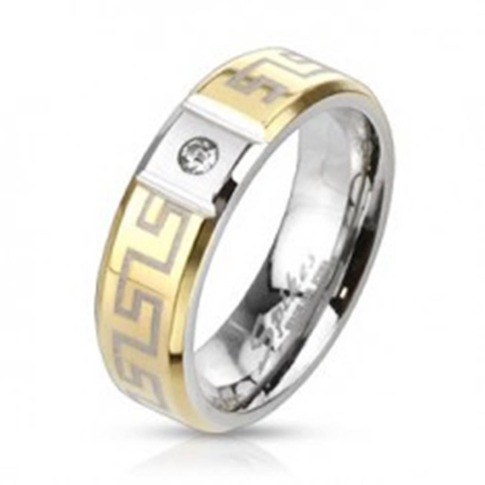 Šperky eshop Oceľový prsteň s gréckym vzorom - so zirkónom - Veľkosť: 49 mm