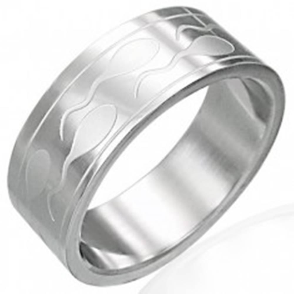 Šperky eshop Oceľový prsteň so spermiami a dvoma pásikmi - Veľkosť: 51 mm
