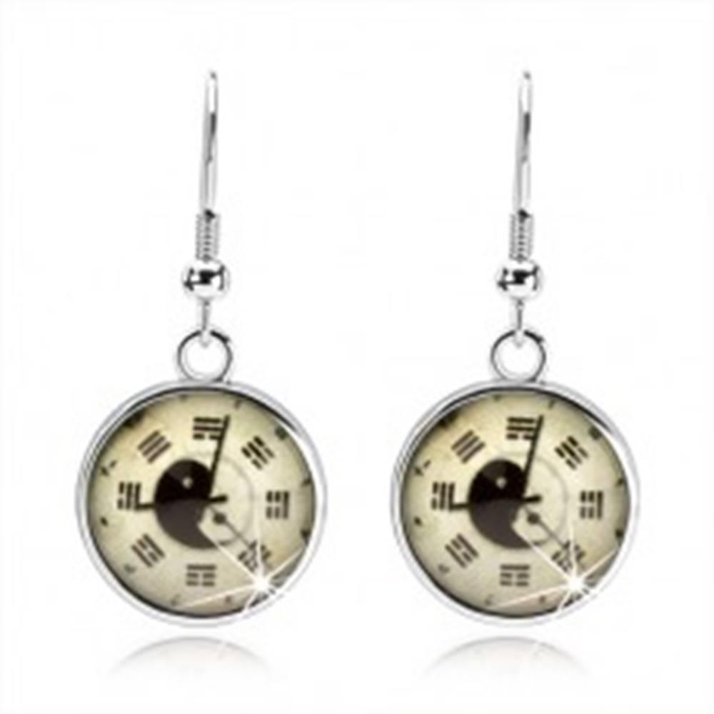 Šperky eshop Okrúhle náušnice, kabošon, hodinky, jin jang, trigramy, svetložltý podklad