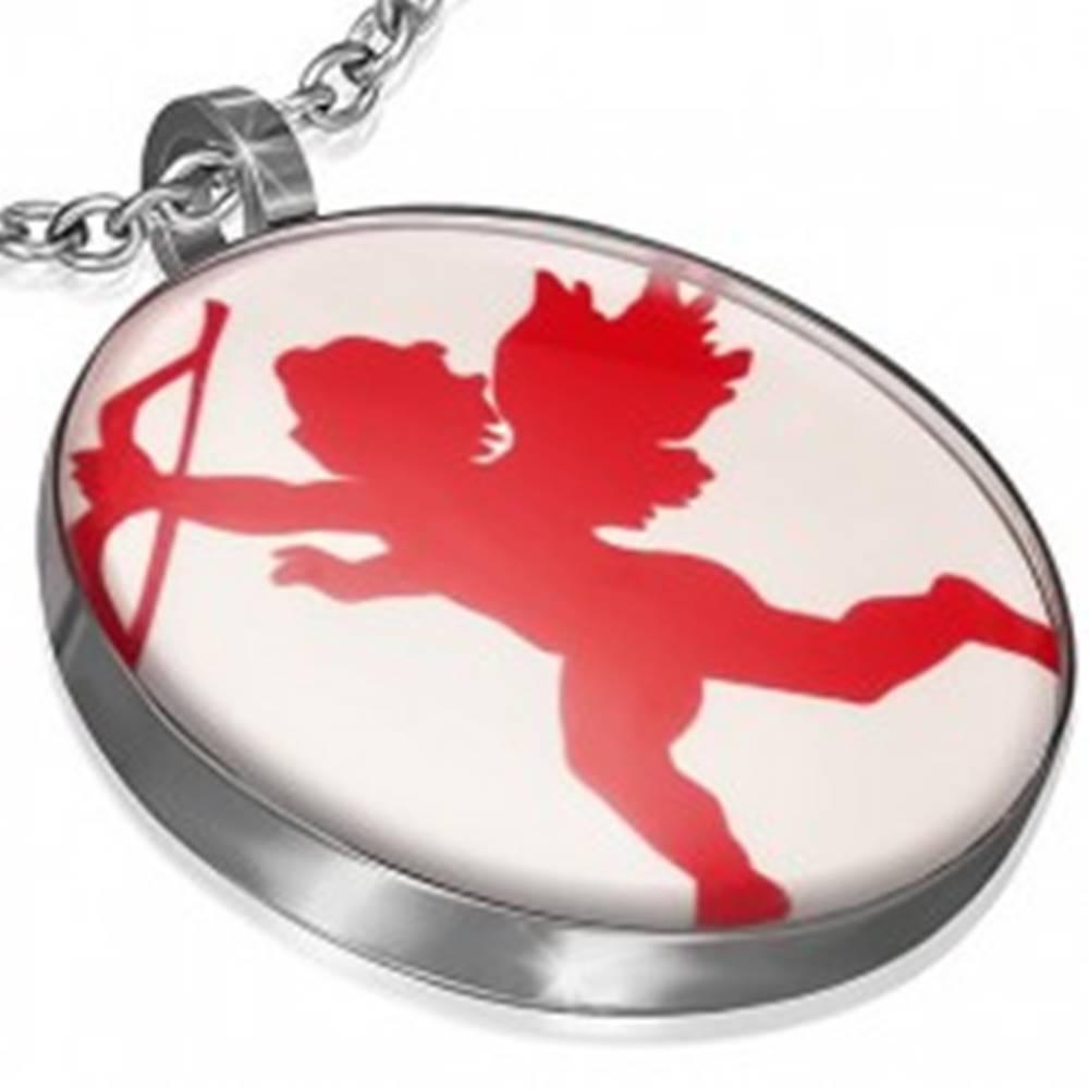 Šperky eshop Okrúhly oceľový prívesok - červený Amorko s lukom
