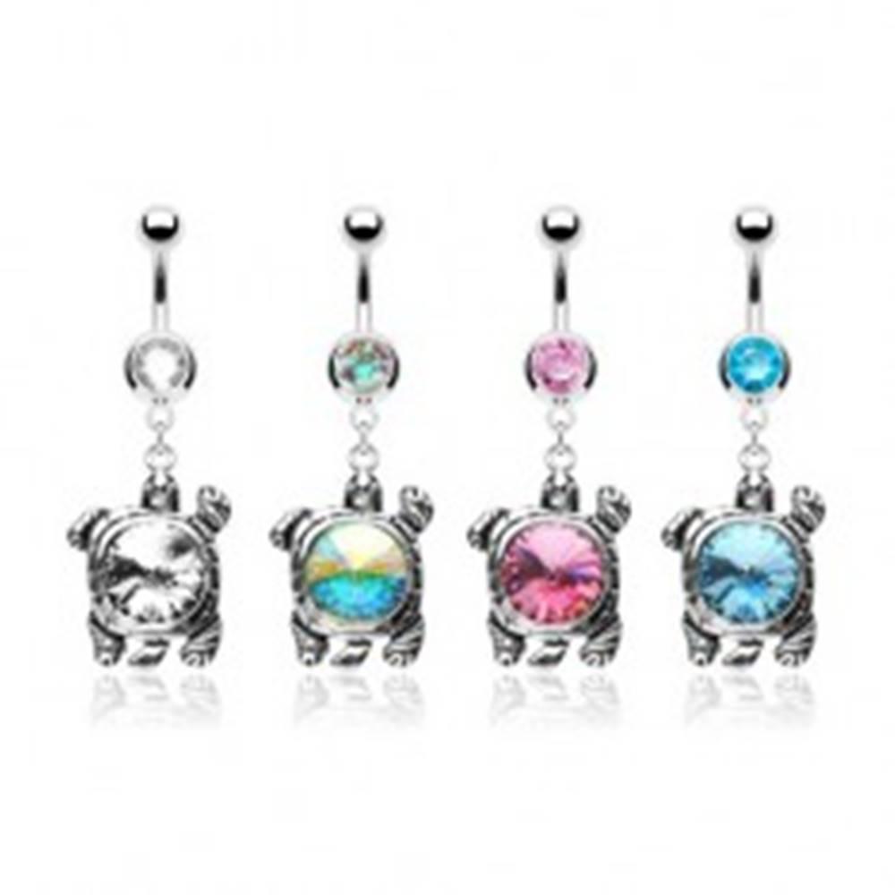 Šperky eshop Piercing do brucha s korytnačkou so zirkónovým pancierom - Farba zirkónu: Aqua modrá - Q
