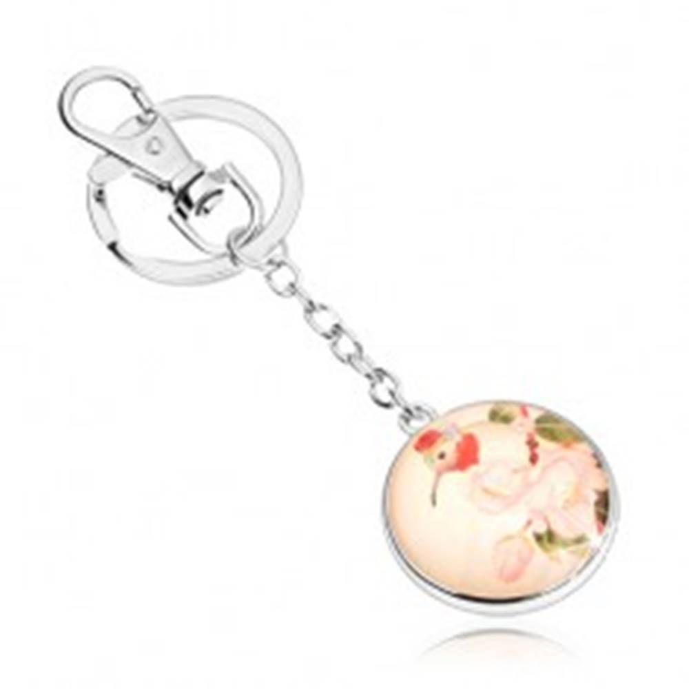Šperky eshop Prívesok na kľúče v štýle cabochon, kruh s čírym vypuklým sklom, vtáčik, kvety