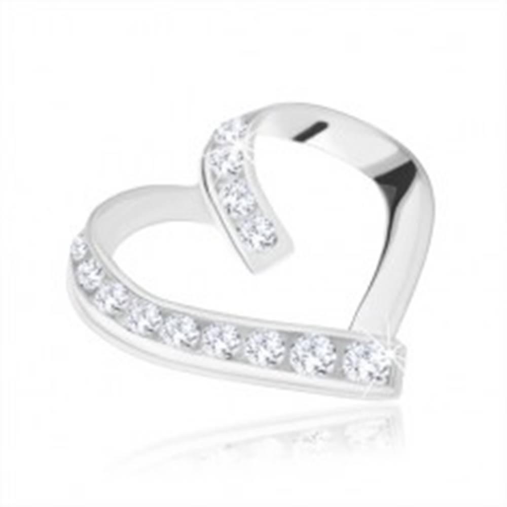 Šperky eshop Prívesok, striebro 925, asymetrický obrys srdca, hladká a zirkónová línia