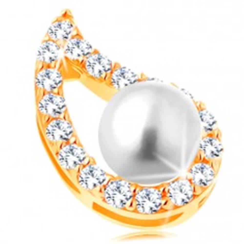 Šperky eshop Prívesok v žltom 14K zlate - asymetrický obrys kvapky, číre zirkóny, perla