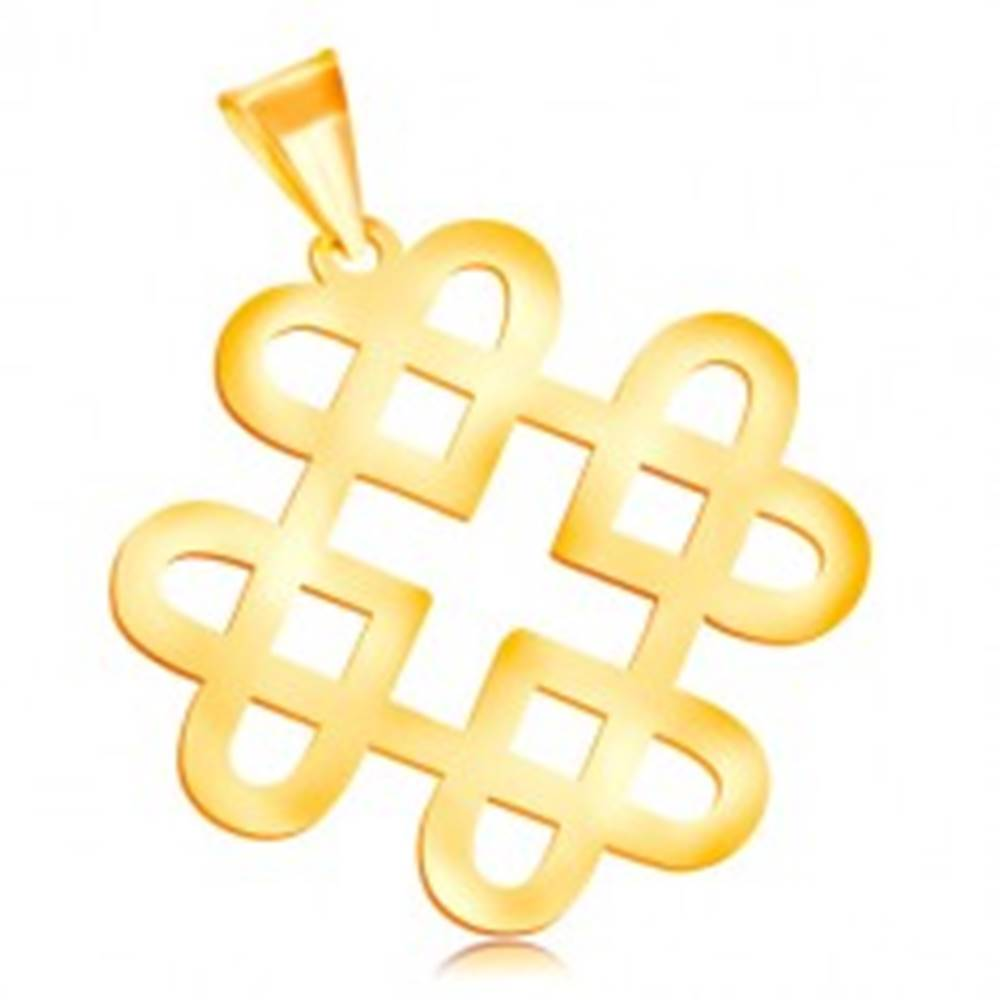 Šperky eshop Prívesok v žltom 14K zlate - lesklý ornament zo štyroch kontúr srdiečok
