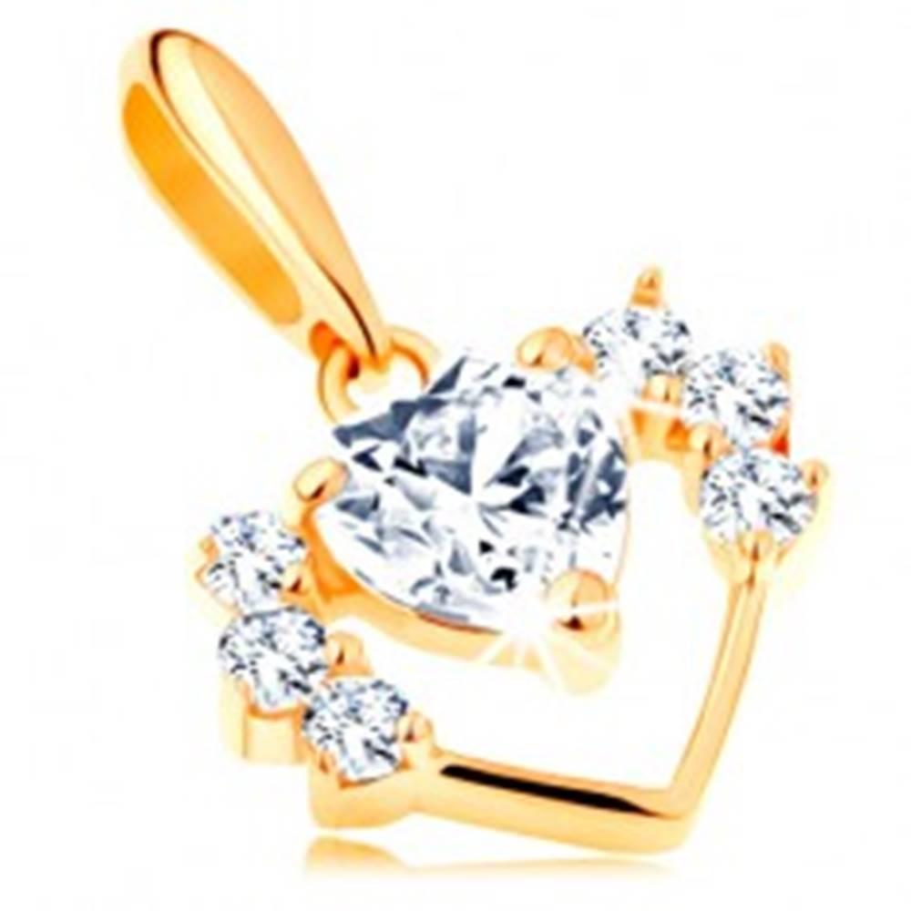 Šperky eshop Prívesok v žltom 14K zlate - úzka kontúra srdca so zirkónmi, číre srdiečko