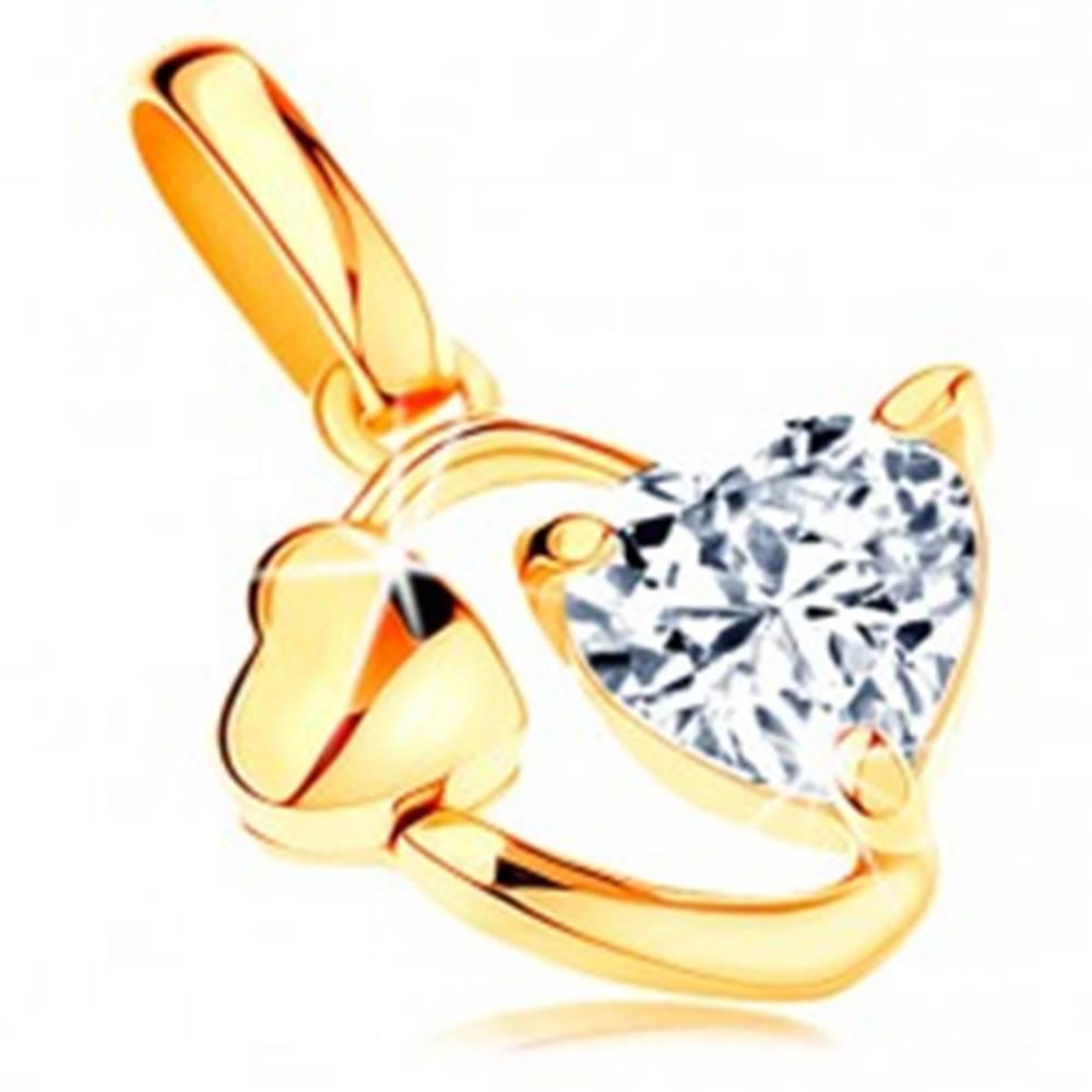 Šperky eshop Prívesok zo žltého 14K zlata - obrys oválu so srdiečkom a čírym zirkónom