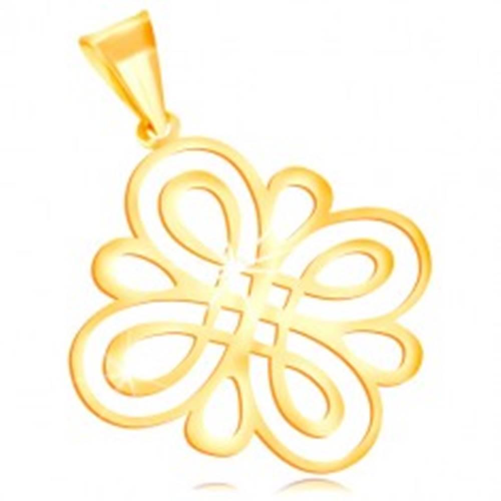 Šperky eshop Prívesok zo žltého zlata 585 - lesklý plochý ornament z oblých slučiek