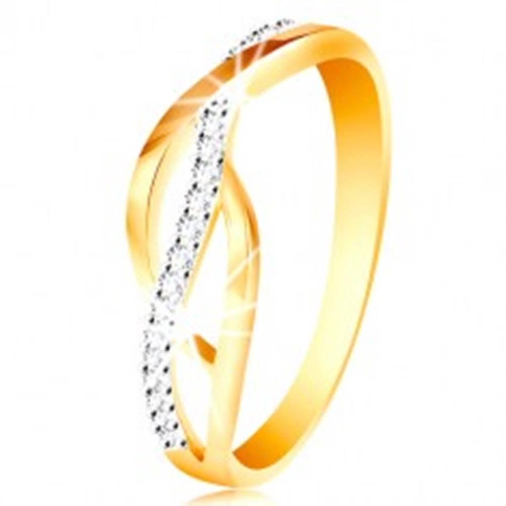 Šperky eshop Prsteň v kombinovanom 14K zlate - prepletené hladké a zirkónové línie - Veľkosť: 49 mm