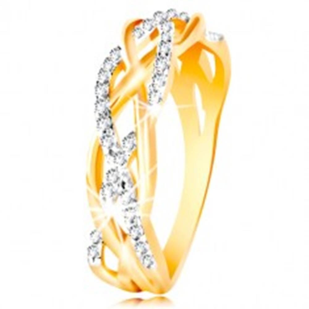 Šperky eshop Prsteň z kombinovaného 14K zlata - prepletené hladké a zirkónové línie - Veľkosť: 48 mm