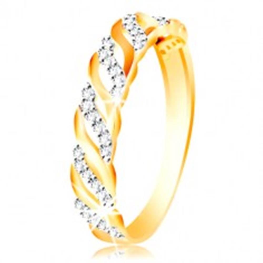 Šperky eshop Prsteň z kombinovaného zlata 585 - hladké a zirkónové vlnky - Veľkosť: 49 mm