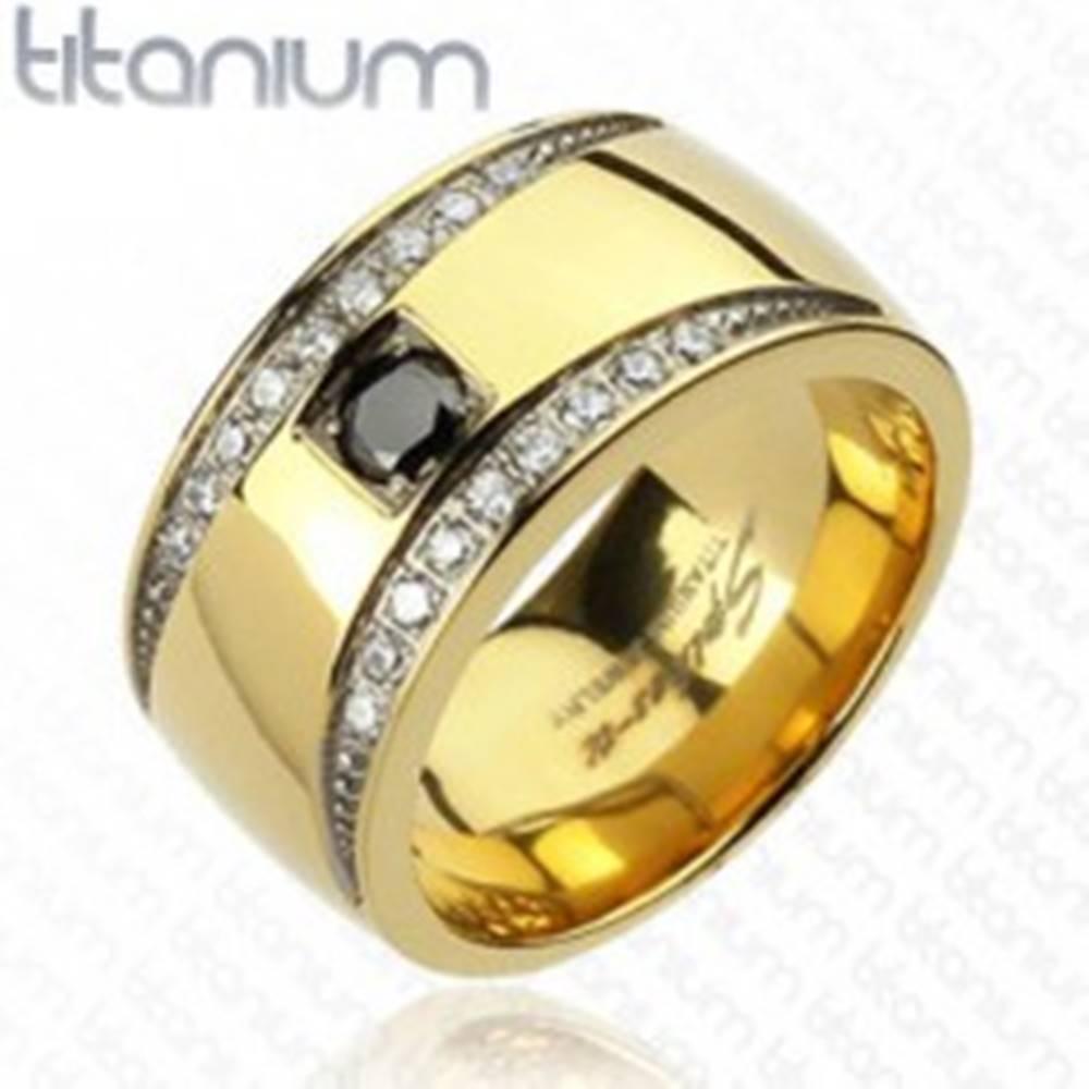 Šperky eshop Prsteň z titánu zlatej farby so zirkónovými polmesiacmi - Veľkosť: 59 mm