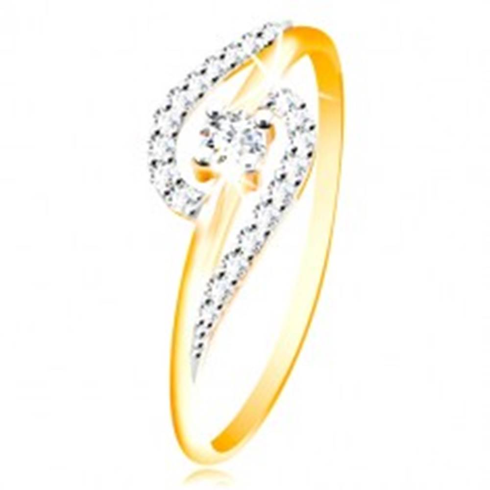 Šperky eshop Prsteň zo 14K zlata - číre zirkónové oblúky, väčší okrúhly zirkón uprostred - Veľkosť: 48 mm