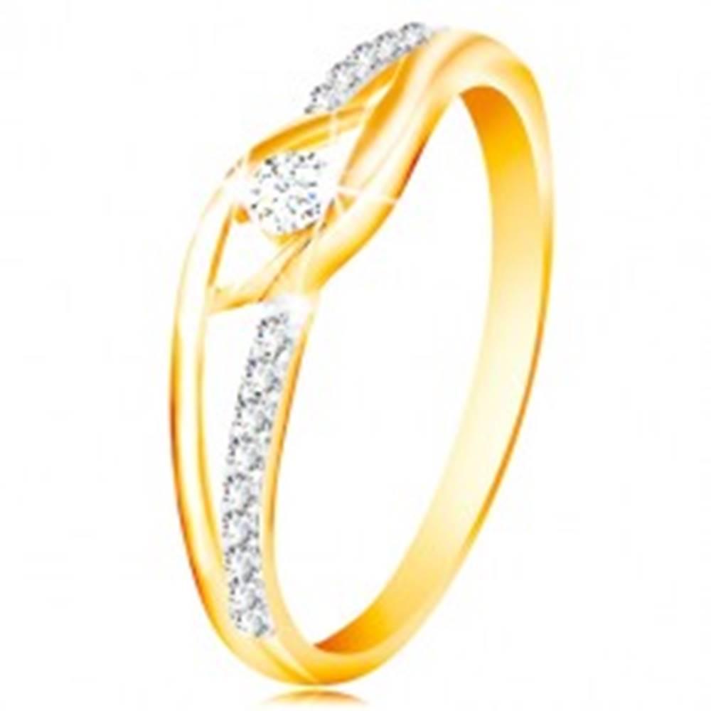 Šperky eshop Prsteň zo 14K zlata - rozdvojené a zahnuté ramená, okrúhly zirkón v strede - Veľkosť: 49 mm