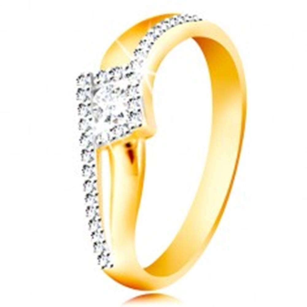 Šperky eshop Prsteň zo 14K zlata - zvlnené a rozdvojené ramená, okrúhly zirkón v kosoštvorci - Veľkosť: 49 mm