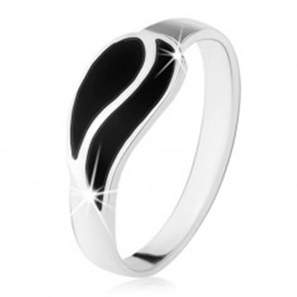 Šperky eshop Prsteň zo striebra 925, dve vlnky z čierneho ónyxu, vysoký lesk - Veľkosť: 49 mm