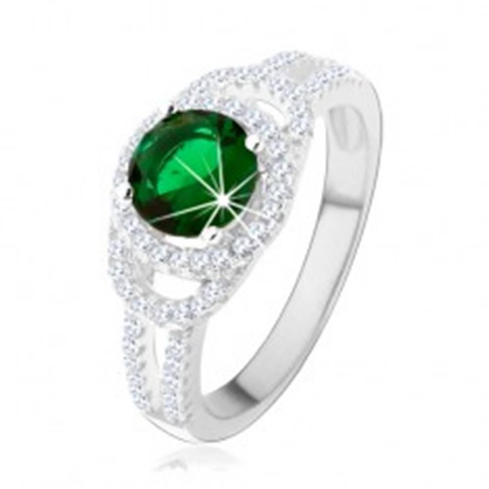 Šperky eshop Prsteň zo striebra 925, dvojitá trblietavá kontúra, zelený okrúhly zirkón - Veľkosť: 49 mm