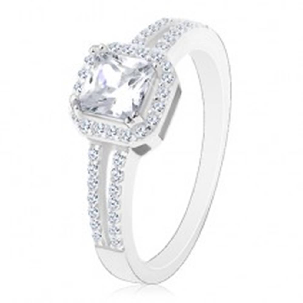Šperky eshop Prsteň zo striebra 925, rozdelené zirkónové ramená, číry štvorcový zirkón - Veľkosť: 49 mm