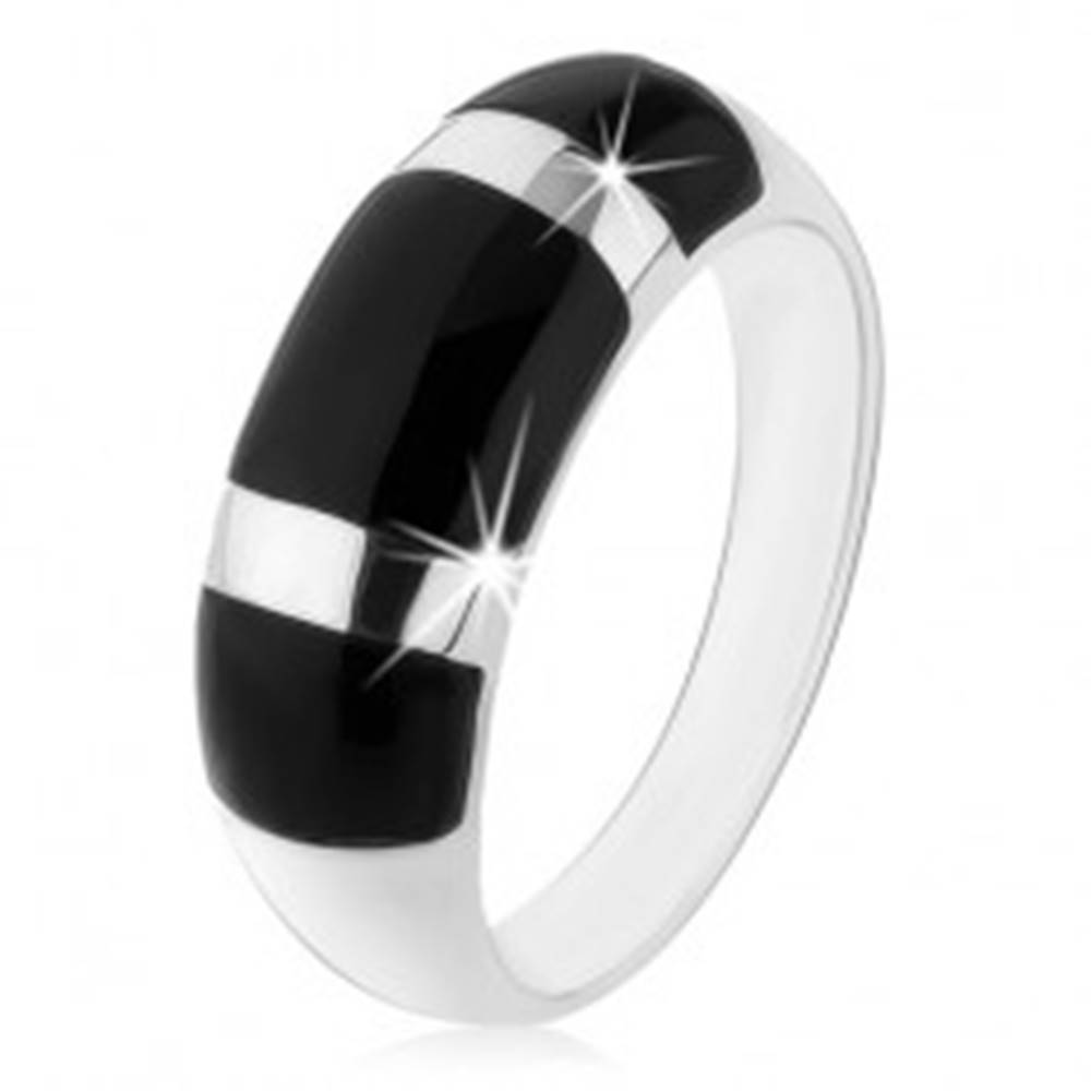 Šperky eshop Prsteň zo striebra 925, vypuklý zaoblený povrch, čierne ónyxové obdĺžniky - Veľkosť: 48 mm