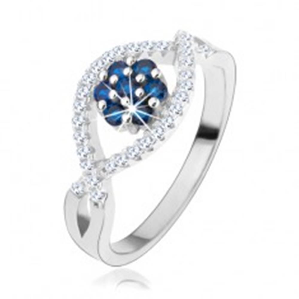 Šperky eshop Prsteň zo striebra 925, zvlnené zirkónové línie, ligotavý kvet z modrých zirkónov - Veľkosť: 49 mm