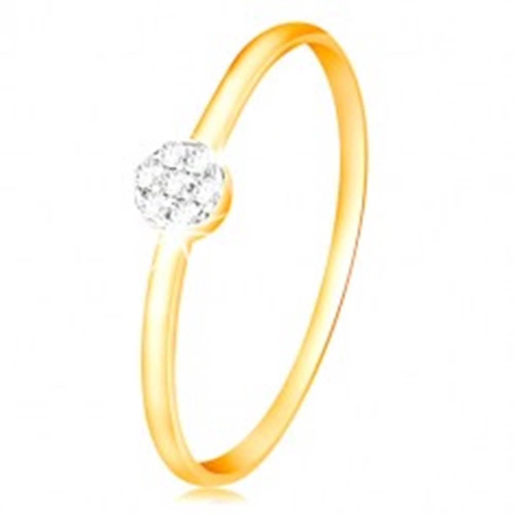 Šperky eshop Prsteň zo zlata 585 - malý ligotavý kvietok z čírych zirkónov, tenké ramená - Veľkosť: 49 mm