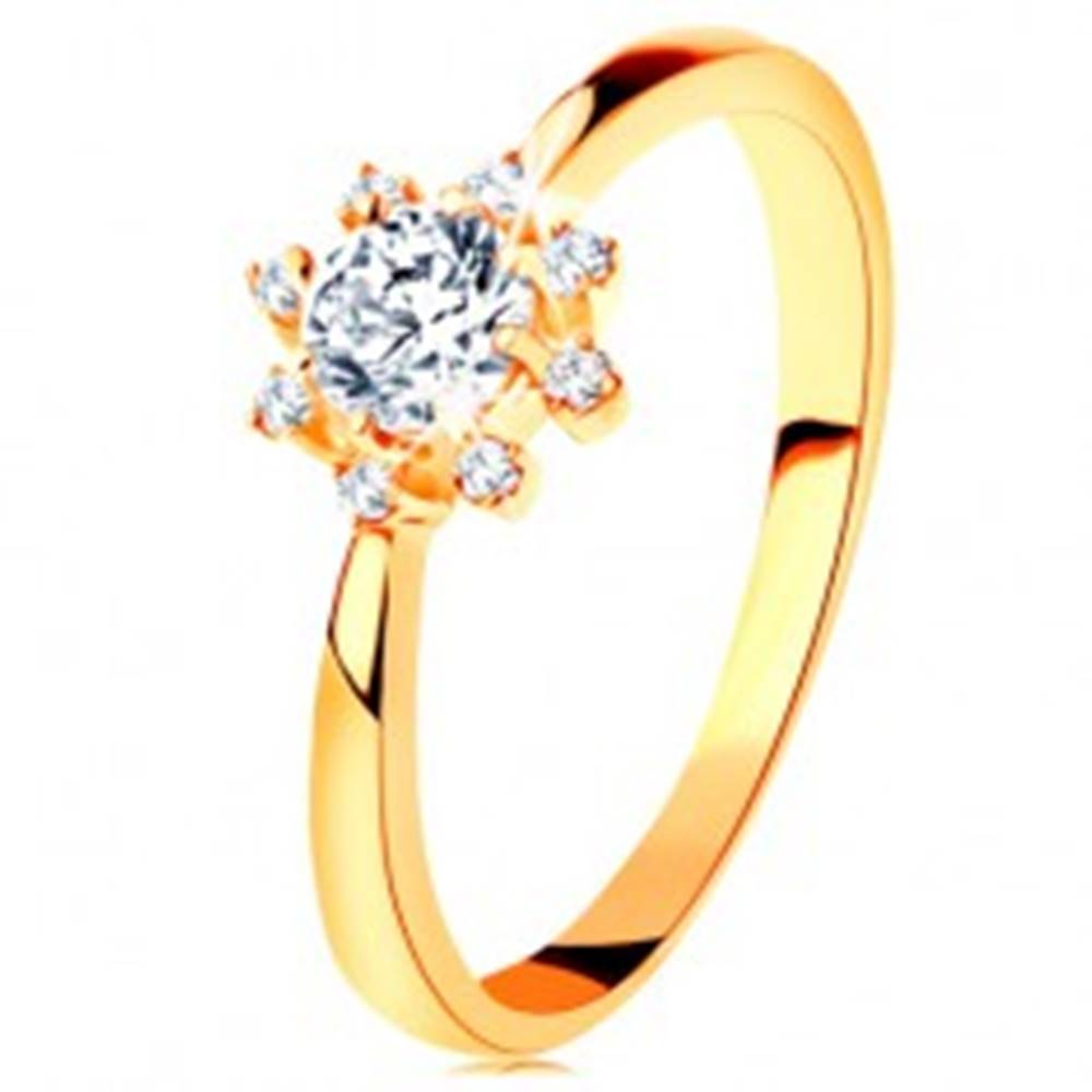 Šperky eshop Prsteň zo žltého 14K zlata - číre ligotavé slniečko, zúžené ramená - Veľkosť: 49 mm