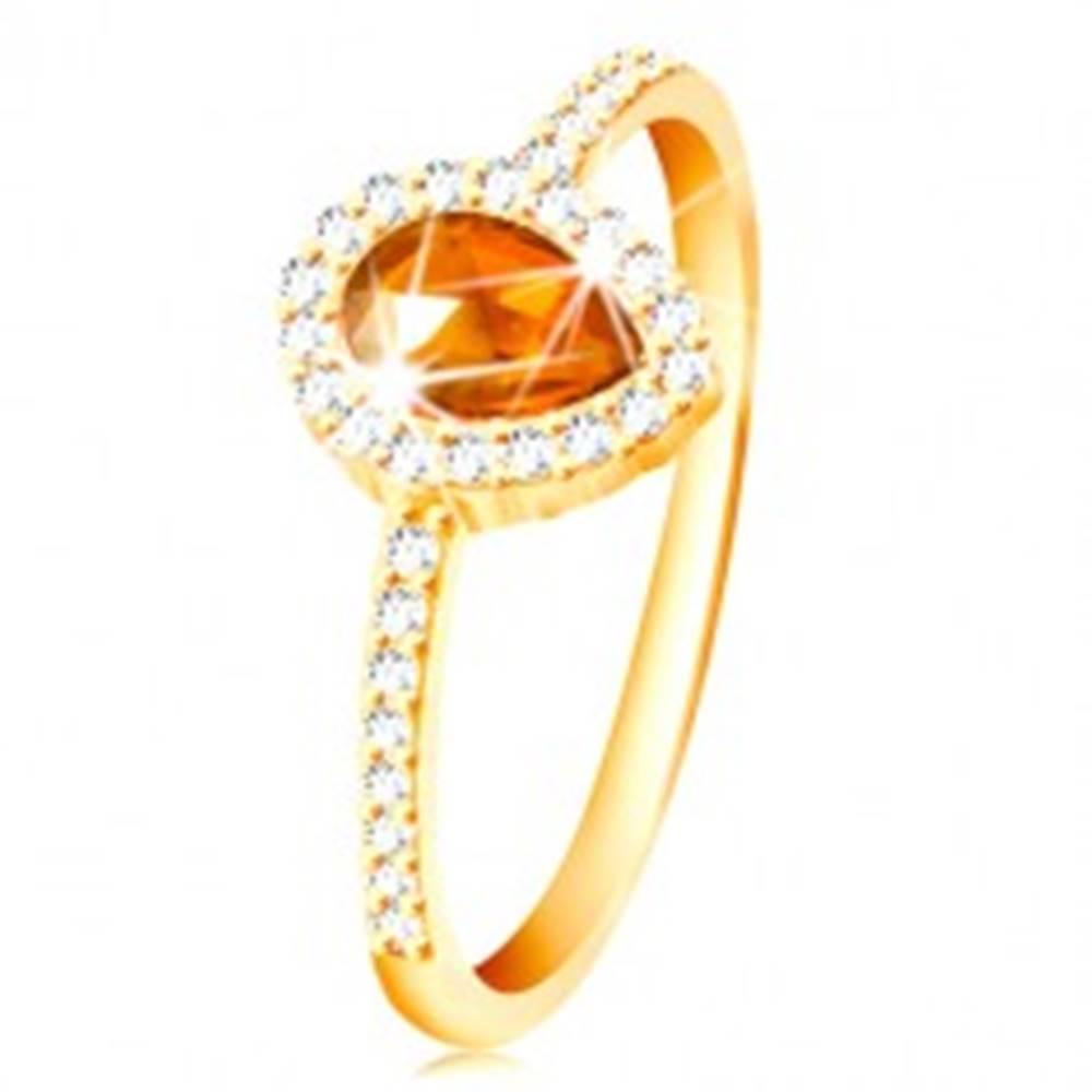 Šperky eshop Prsteň zo žltého 14K zlata, kvapka oranžovej farby s čírym zirkónovým lemom - Veľkosť: 49 mm