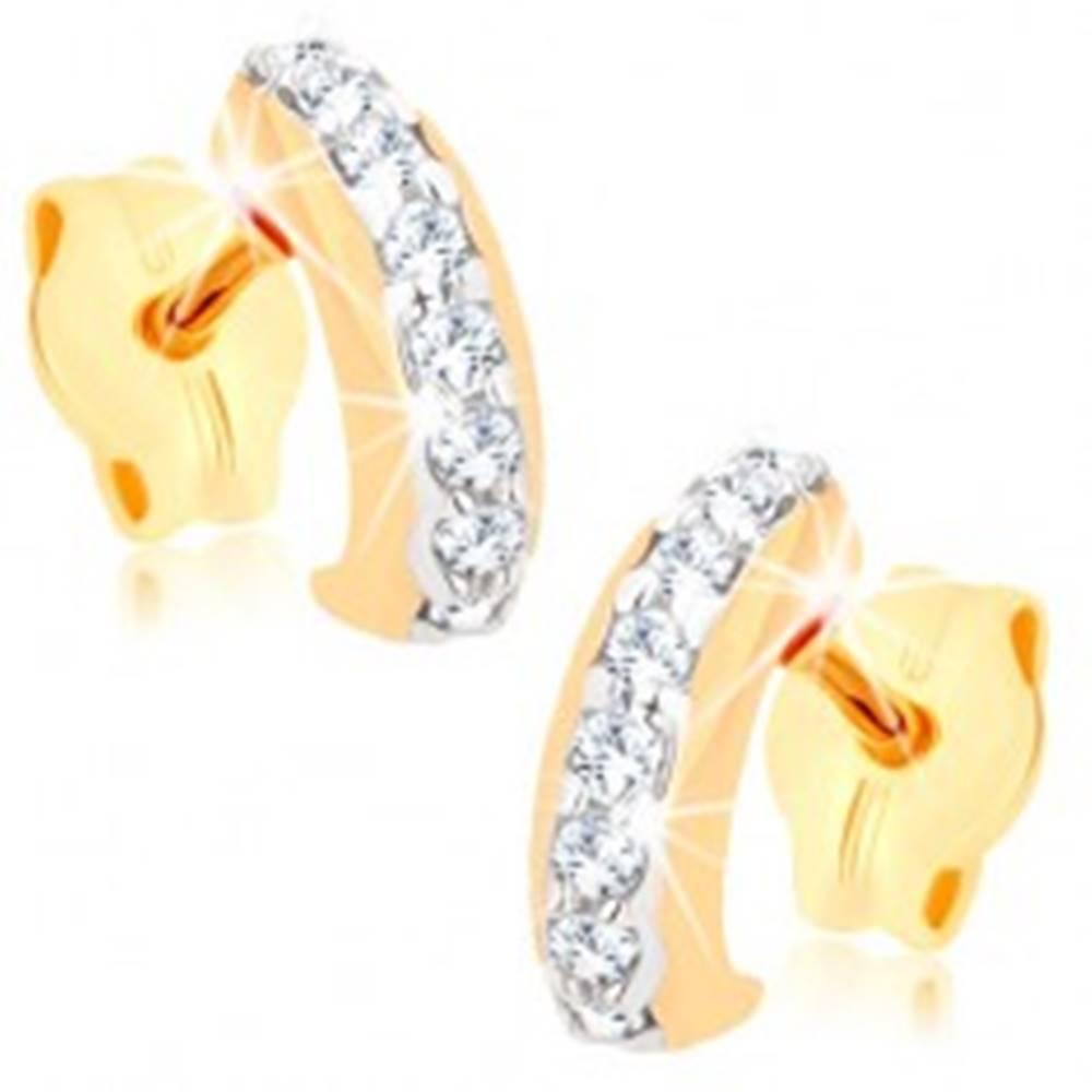 Šperky eshop Puzetové náušnice zo žltého 9K zlata - oblúčik s línou čírych zirkónov