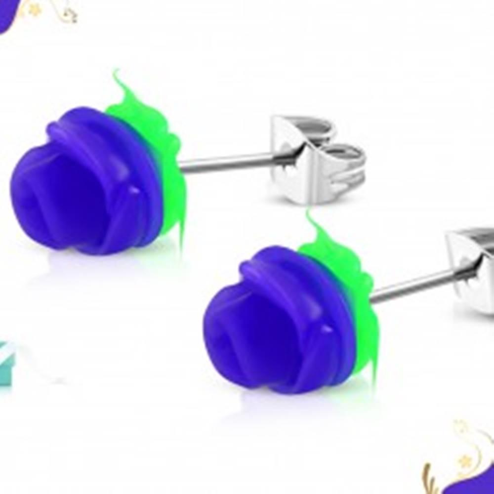 Šperky eshop Puzetové oceľové náušnice, tmavofialová ružička so zelenými lístkami