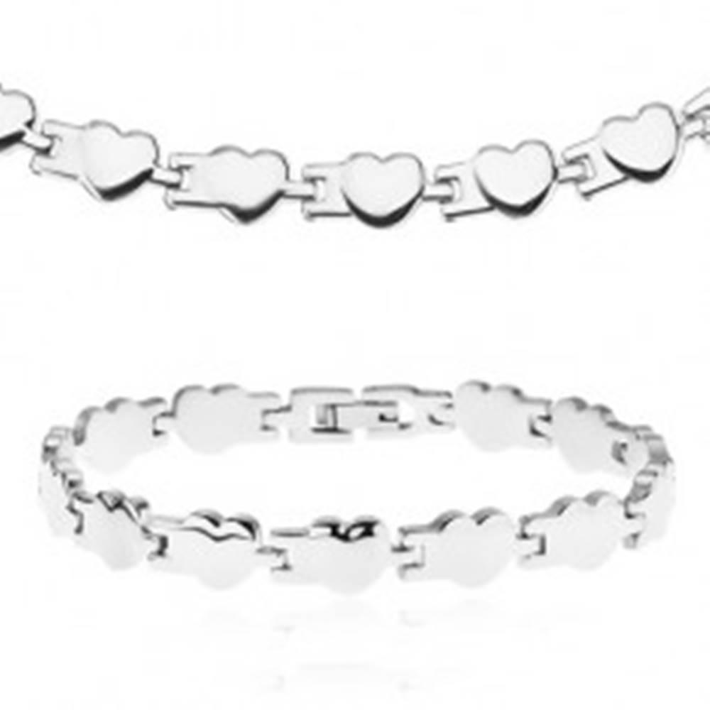 Šperky eshop Set z chirurgickej ocele - náhrdelník a náramok, lesklé pospájané srdiečka