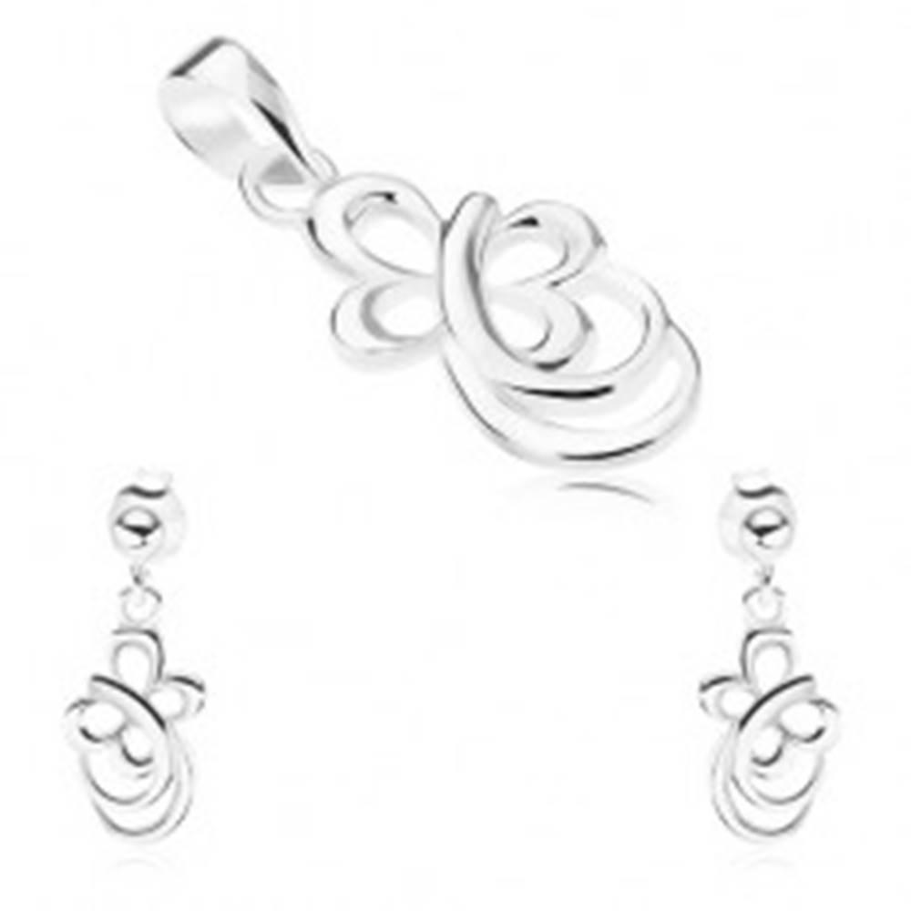 Šperky eshop Strieborná sada 925 - náušnice, prívesok, obrys motýľa, zaoblené línie