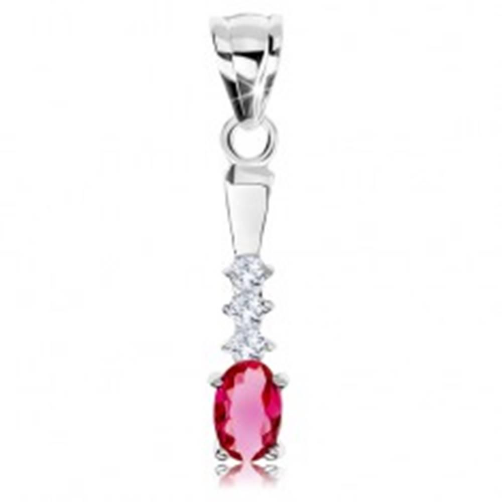 Šperky eshop Strieborný 925 prívesok, ružový zirkón - ovál, číre zirkóniky, hladký pásik