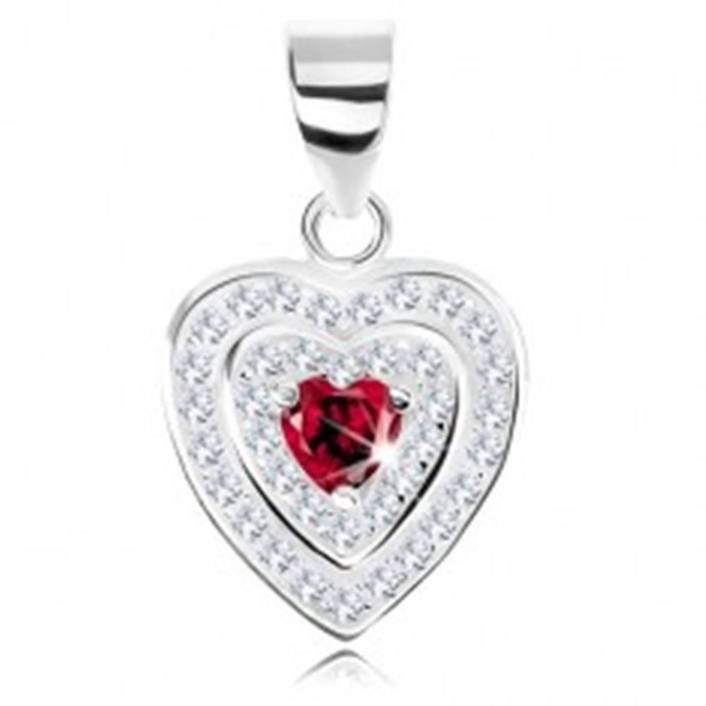 Šperky eshop Strieborný 925 prívesok, zirkónové srdce, dvojitý ligotavý lem