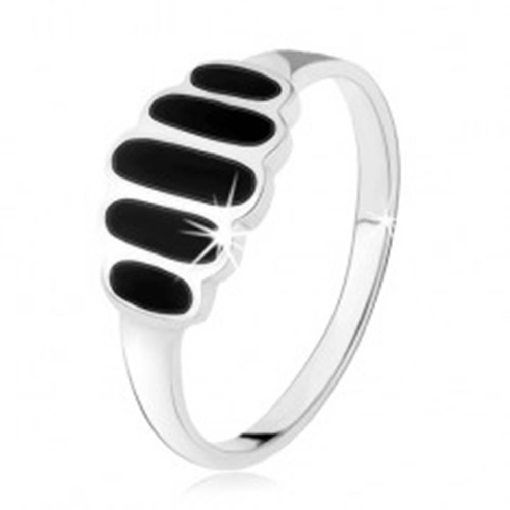 Šperky eshop Strieborný 925 prsteň, čierne ónyxové ovály, hladké ramená, vysoký lesk - Veľkosť: 49 mm