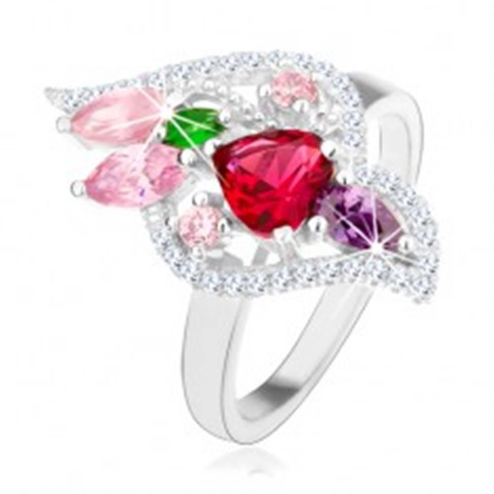 Šperky eshop Strieborný 925 prsteň, trblietavé zirkóny rôznych farieb, číry lem - Veľkosť: 50 mm