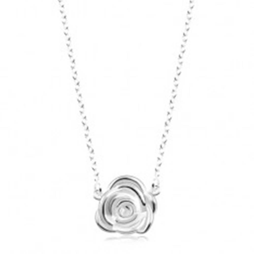 Šperky eshop Strieborný náhrdelník 925, ligotavá retiazka, rozkvitnutá ruža