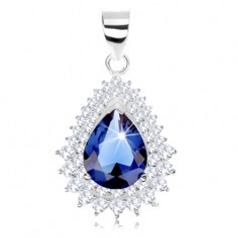 Šperky eshop Strieborný prívesok 925, modrý zirkón - kvapka, číry zirkónový lem